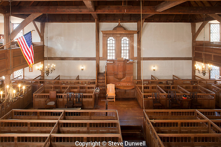 Old Ship Church, 1681, Hingham, MA  (Oldest church in USA in continuous use for worship the only surviving Puritan meetinghouse from the 17th century. with additions 1731