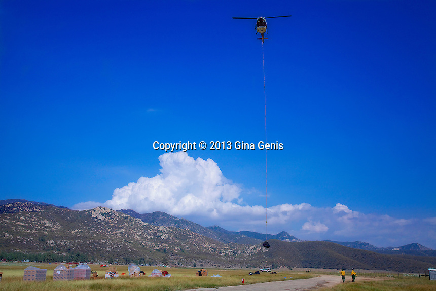 Helicopter long lines provisions to Hot Shots during the Mountain Center fire