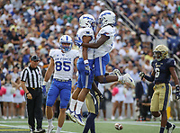 Annapolis, MD - October 7, 2017: Air Force Falcons wide receiver Marcus Bennett (8) celebrates after scoring a touchdown during the game between Air Force and Navy at  Navy-Marine Corps Memorial Stadium in Annapolis, MD.   (Photo by Elliott Brown/Media Images International)