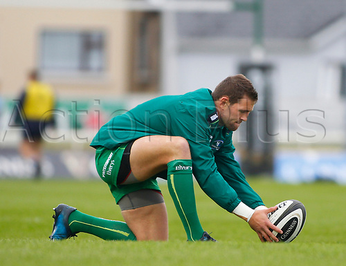 23rd September 2017, Galway Sportsground, Galway, Ireland; Guinness Pro14 rugby, Connacht versus Cardiff Blues; Andrew Deegan (Connacht) lines up a kick in the warm up