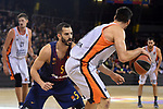 Turkish Airlines Euroleague 2017/2018.<br /> Regular Season - Round 8.<br /> FC Barcelona Lassa vs Valencia Basket: 89-71.<br /> Pau Ribas vs Fernando San Emeterio.