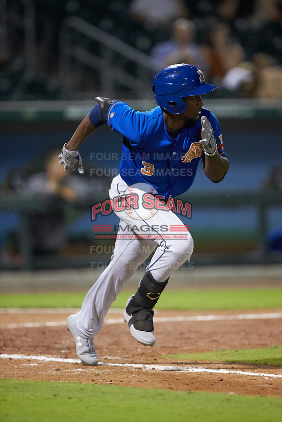 Lucius Fox (3) of the Durham Bulls hustles down the first base line against the Charlotte Knights at BB&T BallPark on July 31, 2019 in Charlotte, North Carolina. The Knights defeated the Bulls 9-6. (Brian Westerholt/Four Seam Images)