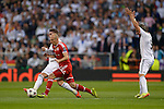 Arjen Robben vies with Sergio Ramos and Fabio Coentrao during the UEFA Champions League semifinal first leg football match Real Madrid CF vs FC Bayern Munchen at the Santiago Bernabeu stadium in Madrid in Madrid on April 23, 2014.   PHOTOCALL3000/ DP