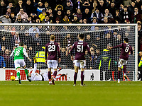 3rd March 2020; Easter Road, Edinburgh, Scotland; Scottish Premiership Football, Hibernian versus Heart of Midlothian; Sean Clare of Hearts scores the opening goal from the penalty spot