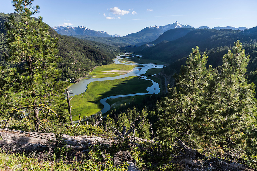View of the Bridge River Valley in late spring, Gold Bridge, British Colombia, Canada.