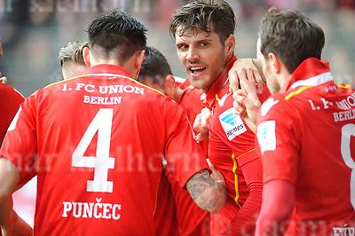 Apr-16-2017,Stadium Alte F&ouml;rsterei,Berlin,Germany<br /> 2nd Bundesliga - gameday 29 1.FC Union Berlin - 1.FC Kaiserslautern <br /> Scorer Damir Kreilach,m, celebrates goal and his birthday  with teammates