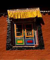 Art in monastery architecture, Sikkim, India - colorful windows