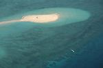 White sand beach seen from the airs.Mayotte lagoon. Comores <br /> Ilot blanc vu d'ULM sud du lagon