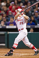 Houston Cougars first baseman Chris Iriart (25) follows through on his swing during the NCAA baseball game against the Texas A&M Aggies on March 7, 2015 in the Houston College Classic at Minute Maid Park in Houston, Texas. Texas A&M defeated Houston 6-0. (Andrew Woolley/Four Seam Images)