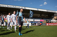 Paul Hayes of Wycombe leads the players out during The Impractical Jokers (Hit US TV Comedy) filming at Wycombe Wanderers FC at Adams Park, High Wycombe, England on 5 April 2016. Photo by Andy Rowland.