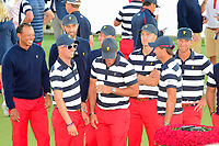 Team U.S.A. has some fun as they await the team photo following the 2017 President's Cup, Liberty National Golf Club, Jersey City, New Jersey, USA. 10/1/2017. <br /> Picture: Golffile | Ken Murray<br /> <br /> All photo usage must carry mandatory copyright credit (&copy; Golffile | Ken Murray)