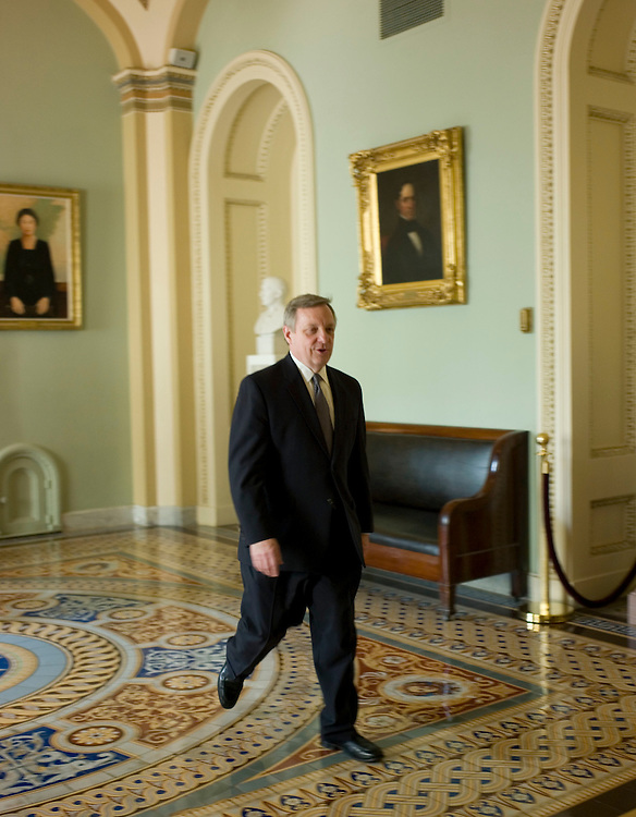 WASHINGTON, DC - April 22: Senate Majority Whip Richard J. Durbin, D-Ill., on his way to the ceremony unveiling the portrait for former Senate Majority Leader Tom Daschle, D-S.D. (Photo by Scott J. Ferrell/Congressional Quarterly)