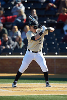 Bobby Seymour (3) of the Wake Forest Demon Deacons at bat against the Gardner-Webb Runnin' Bulldogs at David F. Couch Ballpark on February 18, 2018 in  Winston-Salem, North Carolina. The Demon Deacons defeated the Runnin' Bulldogs 8-4 in game one of a double-header.  (Brian Westerholt/Four Seam Images)