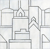 Cityscape, a glass waterjet mosaic shown in Moonstone, is part of the Erin Adams Collection for New Ravenna.