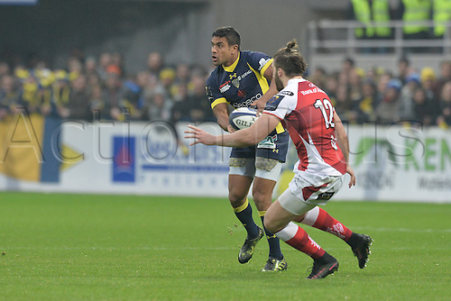18.12.2016. Stade Marcel Michelin, Clermont-Ferrand, France. European Champions Cup Rugby. Clermont Auvergne versus Ulster.  Wesley Fofana (asm) tackled by Stuart McCloskey  (ulster)