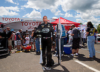 May 31, 2014; Englishtown, NJ, USA; A life size cardboard cutout of NHRA top fuel driver Shawn Langdon on display during qualifying for the Summernationals at Raceway Park. Mandatory Credit: Mark J. Rebilas-
