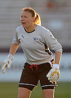 Boston Breakers  goalkeeper Kristin Luckenbill (1) commanding her defense.  Boston Breakers defeated Washington Freedom 3-1  at The Maryland SoccerPlex, Saturday April 18, 2009.