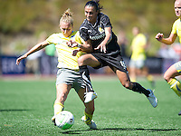 Marta, right, and Nikki Krzysik, left, battle for a ball during the FC Gold's victory over the Philadelphia Independence 4-0, to capture the 2010 WPS Championships in Hayward, Calif., Sunday, September 26, 2010.