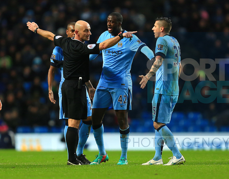 An angry Yaya Toure of Manchester City confronts the referee - Manchester City vs. Sunderland - Barclay's Premier League - Etihad Stadium - Manchester - 28/12/2014 Pic Philip Oldham/Sportimage