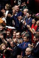 In alto da sinistra Lorenzo Guerini, Roberto Speranza, Matteo Orfini, in basso Maria Elena Boschi applaudono l'elezione del Presidente della Repubblica<br /> Roma 31-01-2015 Camera. Elezione del Presidente della Repubblica. Al quarto scrutinio e' stato eletto il nuovo Presidente.<br /> Lower Chamber. Elections for the President of the Republic. The president has been elected at the fourth votation.<br /> Photo Samantha Zucchi Insidefoto