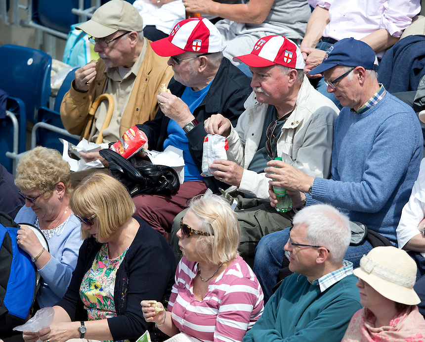 Tennis fans munch on food during play<br /> <br /> Photographer Stephen White/CameraSport<br /> <br /> Tennis - WTA International - Aegon  Classic - Day 5 - Friday 19th June 2015 - Edgbaston Priory Club - Birmingham<br /> <br /> &copy; CameraSport - 43 Linden Ave. Countesthorpe. Leicester. England. LE8 5PG - Tel: +44 (0) 116 277 4147 - admin@camerasport.com - www.camerasport.com