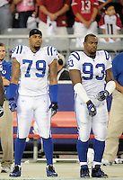 Sept. 27, 2009; Glendale, AZ, USA; Indianapolis Colts defensive end (79) Raheem Brock and defensive end (93) Dwight Freeney against the Arizona Cardinals at University of Phoenix Stadium. Indianapolis defeated Arizona 31-10. Mandatory Credit: Mark J. Rebilas-