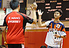 Ethan Wu of Great Neck South, right, high fives Syosset's Eric Wang after their second singles varsity boys badminton match at Syosset High School on Thursday, Oct. 6, 2016. Wu won 2-1.