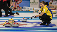 Glasgow. SCOTLAND. Sweden, vice, Osker ERIKSSON uses his brush to signal where to place the stone during the, Le Gruy&egrave;re European Curling Championship match between Scotland and Sweden at the  2016 Venue, Braehead  Scotland<br /> Sunday  20/11/2016<br /> <br /> [Mandatory Credit; Peter Spurrier/Intersport-images]