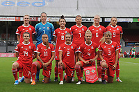 Players of Wales pose for squad photo during the UEFA Womens Euro Qualifier match between Wales and Northern Ireland at Rodney Parade in Newport, Wales, UK. Tuesday 03, September 2019