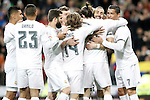 Real Madrid's Carlos Henrique Casemiro, Danilo da Silva, Nacho Fernandez, Toni Kroos, Luka Modric, Marcelo Vieira, Gareth Bale, Karim Benzema and Cristiano Ronaldo celebrate goal during La Liga match. March 20,2016. (ALTERPHOTOS/Acero)