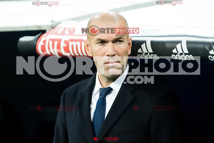 "Real Madrid's Real Madrid's coach Zinedine Zidane during the match of ""Copa del Rey"" between Real Madrid and Cultural Leonesa at Santiago Bernabeu Stadium in Madrid, Spain. November 29, 2016. (ALTERPHOTOS/Rodrigo Jimenez) /NORTEPHOTO.COM"
