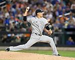 Masahiro Tanaka (Yankees), SEPTEMBER 18, 2015 - MLB : New York Yankees starter Masahiro Tanaka pitches against the New York Mets during a baseball game in New York, United States. (Photo by AFLO)