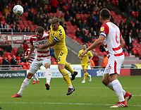 Fleetwood Town's Ashley Eastham scores his side's third goal <br /> <br /> Photographer David Shipman/CameraSport<br /> <br /> The EFL Sky Bet League One - Doncaster Rovers v Fleetwood Town - Saturday 6th October 2018 - Keepmoat Stadium - Doncaster<br /> <br /> World Copyright © 2018 CameraSport. All rights reserved. 43 Linden Ave. Countesthorpe. Leicester. England. LE8 5PG - Tel: +44 (0) 116 277 4147 - admin@camerasport.com - www.camerasport.com