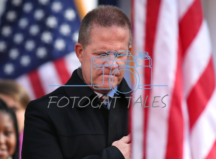 Lt. Gov. Mark Hutchison watches the Presentation of Colors during the inaugural ceremony on the steps of the Capitol, in Carson City, Nev., on Monday, Jan. 5, 2015. (Las Vegas Review-Journal/Cathleen Allison)