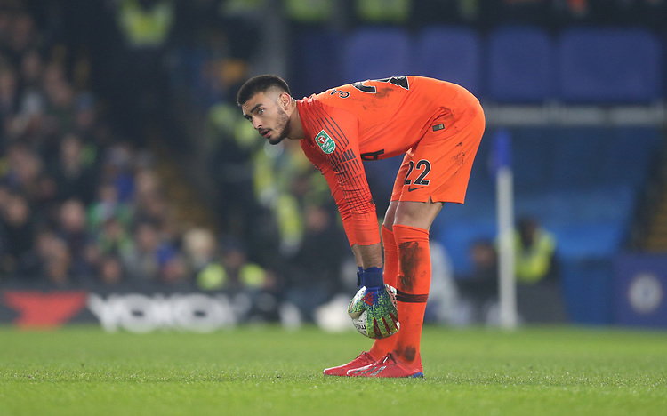 Tottenham Hotspur's Paulo Gazzaniga<br /> <br /> Photographer Rob Newell/CameraSport<br /> <br /> The Carabao Cup Semi-Final Second Leg - Chelsea v Tottenham Hotspur - Thursday 24th January 2019 - Stamford Bridge - London<br />  <br /> World Copyright © 2018 CameraSport. All rights reserved. 43 Linden Ave. Countesthorpe. Leicester. England. LE8 5PG - Tel: +44 (0) 116 277 4147 - admin@camerasport.com - www.camerasport.com
