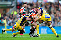 Greg Bateman of Leicester Tigers takes on the Worcester Warriors defence. Aviva Premiership match, between Leicester Tigers and Worcester Warriors on October 8, 2016 at Welford Road in Leicester, England. Photo by: Patrick Khachfe / JMP
