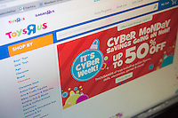 The ToysRUs website features cyber monday sales on Monday, December 2, 2013. While many retailers are offering specials online for CyberMonday, the so-called holiday dates back when most Americans had no broadband and limited internet access so they would shop on the first day back at work, using their employers faster internet. Now everyone shops online all year. (© Richard B. Levine)