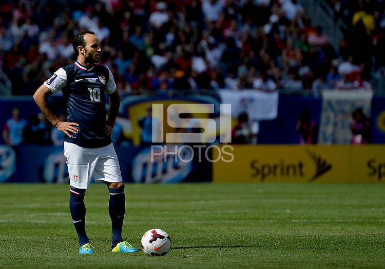 Chicago, IL - Sunday July 28, 2013:  United States forward Landon Donovan (10) holds the ball during the CONCACAF Gold Cup Finals soccer match between the USMNT and Panama, at Soldier Field in Chicago, IL.