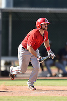 Los Angeles Angels of Anaheim catcher Wade Wass (19) during an Instructional League game against the Milwaukee Brewers on October 9, 2014 at Tempe Diablo Stadium Complex in Tempe, Arizona.  (Mike Janes/Four Seam Images)