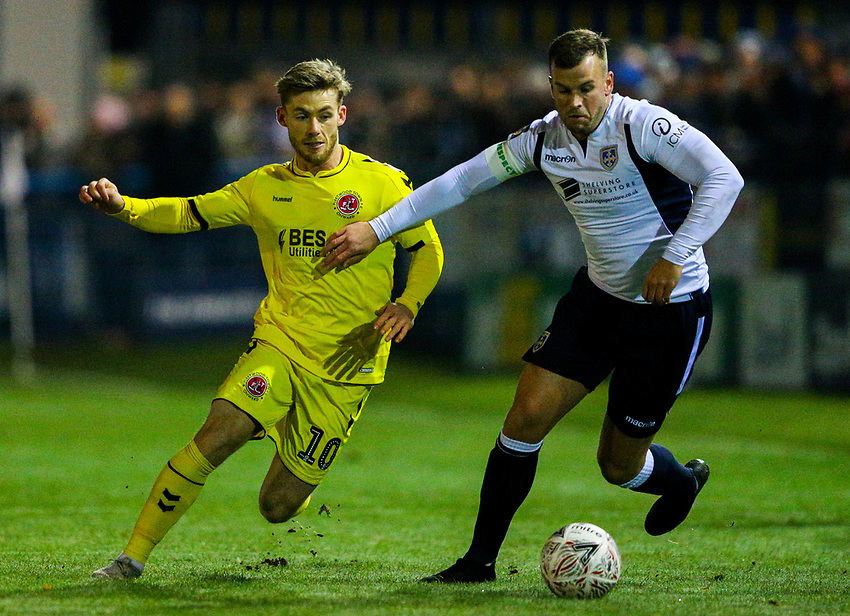 Fleetwood Town's Conor McAleny battles with Guiseley's Andy Halls<br /> <br /> Photographer Alex Dodd/CameraSport<br /> <br /> The Emirates FA Cup Second Round - Guiseley v Fleetwood Town - Monday 3rd December 2018 - Nethermoor Park - Guiseley<br />  <br /> World Copyright © 2018 CameraSport. All rights reserved. 43 Linden Ave. Countesthorpe. Leicester. England. LE8 5PG - Tel: +44 (0) 116 277 4147 - admin@camerasport.com - www.camerasport.com