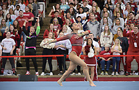 Arkansas' Sophia Carter competes Friday, Feb. 7, 2020, in the portion of the Razorbacks' meet with Georgia in Barnhill Arena in Fayetteville. Visit  nwaonline.com/gymbacks/ for a gallery from the meet.<br /> (NWA Democrat-Gazette/Andy Shupe)