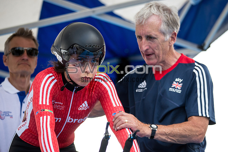 Picture by Alex Whitehead/SWpix.com - 23/06/2016 - Cycling - British Cycling National Championships - Time Trial - Stockton-upon-Tees, England - Team Breeze's Dannielle Khan with Keith Lambert.