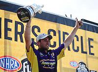 Apr. 29, 2012; Baytown, TX, USA: NHRA pro stock driver Vincent Nobile celebrates after winning the Spring Nationals at Royal Purple Raceway. Mandatory Credit: Mark J. Rebilas-
