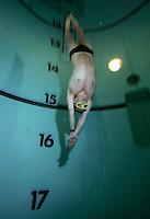 Bjarte Nygaard near the bottom during a dive.  Freediving in a tank belonging to Royal Norwegian Navy Diving School at Haakonsvern Naval base, Norway.