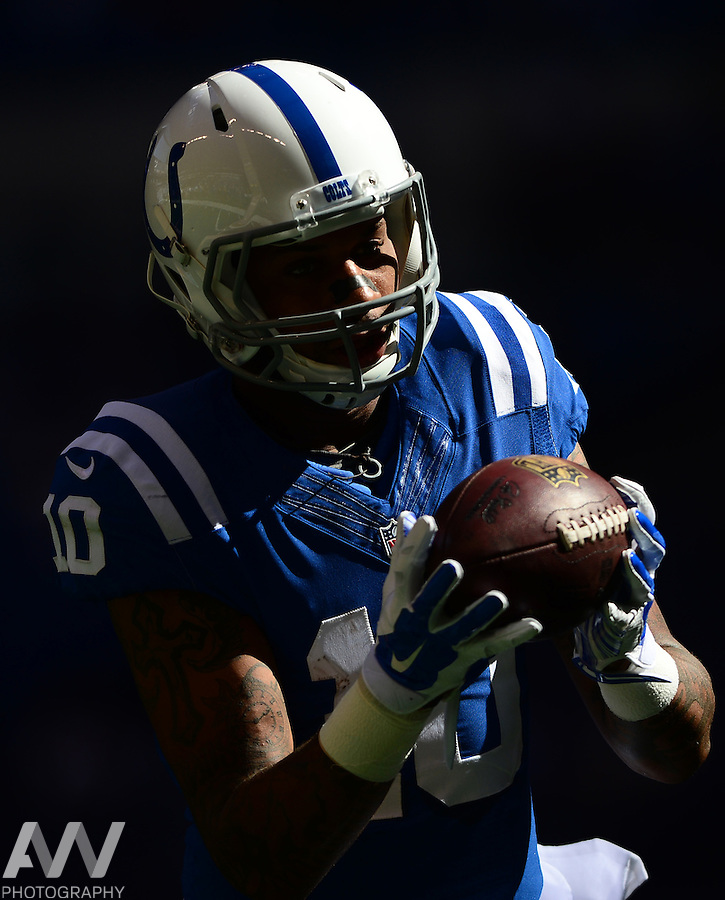 Sep 28, 2014; Indianapolis, IN, USA; Indianapolis Colts wide receiver Donte Moncrief (10) against the Tennessee Titans at Lucas Oil Stadium. Mandatory Credit: Andrew Weber-USA TODAY Sports