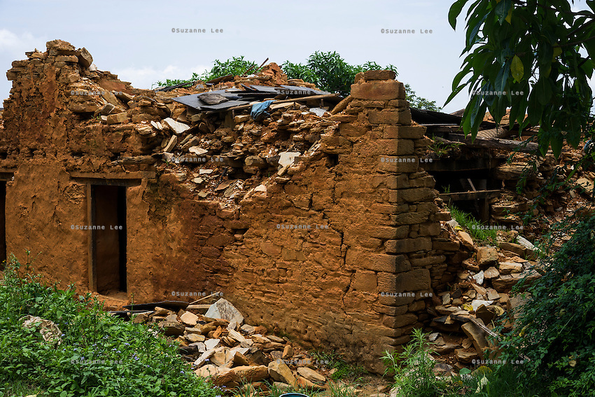 A general view of collapsed houses in Chautara, Sindhupalchowk, Nepal on 29 June 2015. Sindhupalchowk was one of the most devastated by the April 25th earthquake and aftershocks that killed over 8000 people and injured over 19000 people, destroying over half a million houses. Photo by Suzanne Lee for SOS Children's Villages