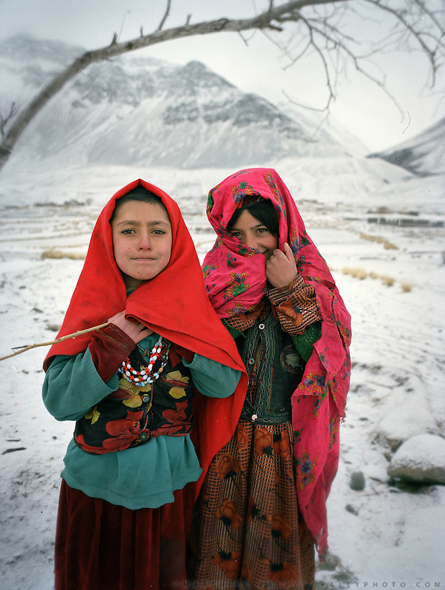 Wakhis outside in Sarhad, the first village coming down from the Little Pamir. .Winter expedition through the Wakhan Corridor and into the Afghan Pamir mountains, to document the life of the Afghan Kyrgyz tribe. January/February 2008. Afghanistan
