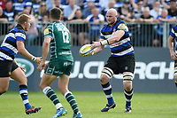 Matt Garvey of Bath Rugby passes the ball. Aviva Premiership match, between Bath Rugby and London Irish on May 5, 2018 at the Recreation Ground in Bath, England. Photo by: Patrick Khachfe / Onside Images