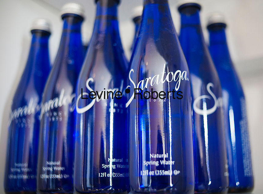 Bottles of Saratoga Spring Water from upstate New York are seen in a refrigerator in New York on Saturday, October 6, 2012. (© Richard B. Levine)