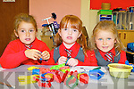 Cassie Davies,Scarlette O'Connor and  Emma Looney having fun on their first day at school in Holy Cross NS Killarney on Thursday